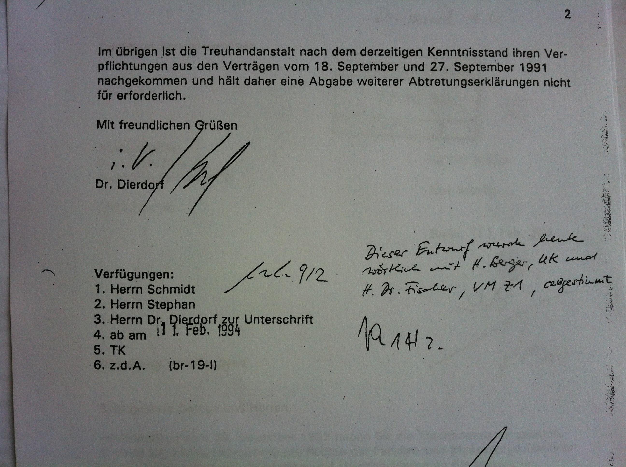 Handschriftliche Notiz auf der 2. Seite des Vermerks