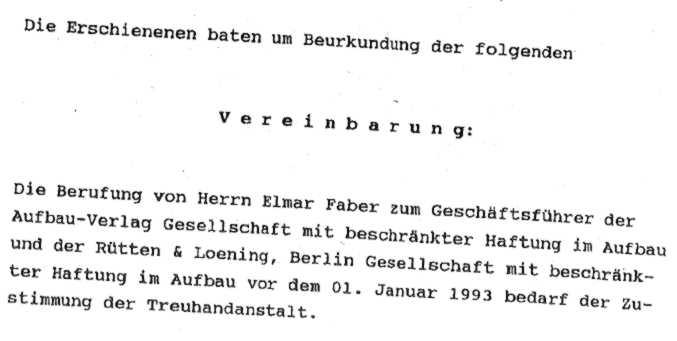 Auszug aus Vereinbarung Molinari, Lunkewitz